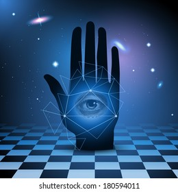 All seeing eye in hand with universe and checkered floor, eps10 vector