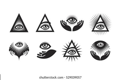 All Seeing Eye icons set. Illuminati symbol