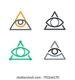 All Seeing Eye icons set. Illuminati symbol EPS10