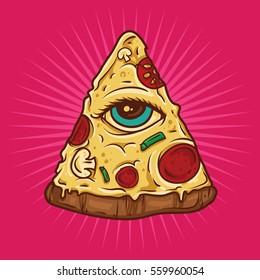 All Seeing Eye Illuminati Pizza Illustration. Vector Illustration