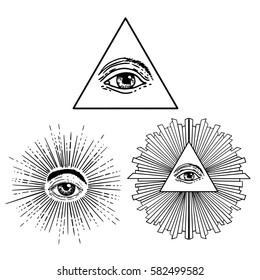 All seeing eye inside delta triangle pyramid. New World Order. Eye of Providence. Hand-drawn alchemy, religion, spirituality, occultism. Isolated vector illustration. Conspiracy theory. Masonic.