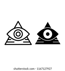 All seeing eye line and glyph icon. Pyramid with eye vector illustration isolated on white. Triangle and eye outline style design, designed for web and app. Eps 10.