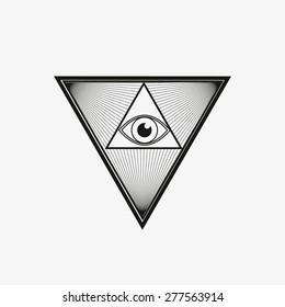 All seeing eye, magical element, god�´s eye, triangle, tattoo design vector illustration eps 10