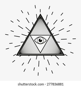 All seeing eye, magical element, god�´s eye, triangle, tattoo design vector illustration eps 10