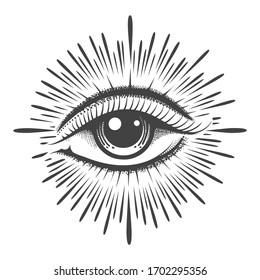 All seeing eye masonic symbol tattoo. Vision of Providence emblem. Vector illustration.