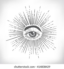 All seeing eye. New World Order. Eye of Providence. Hand-drawn alchemy, religion, spirituality, occultism. Isolated vector illustration. Conspiracy theory. Masonic symbol.
