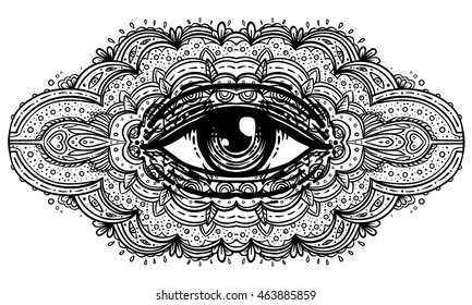 All seeing eye in ornate mandala inspired pattern. Mystic, alchemy, occult concept. Design for music cover, t-shirt, boho poster, flyer. Astrology, shamanism, religion. Coloring book pages for adults