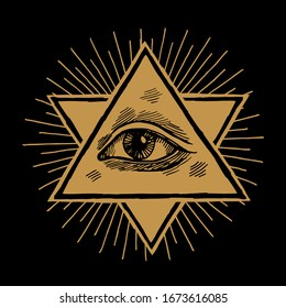 All seeing eye of providence in triangle shape in the star of David and rays vintage occult illustration.
