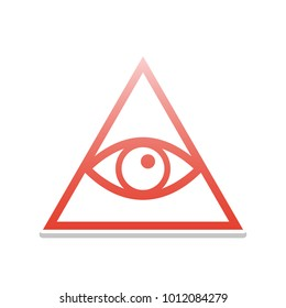All seeing eye pyramid symbol. Freemason and spiritual. Vector. Reddish icon with white and gray shadow on white background. Isolated.