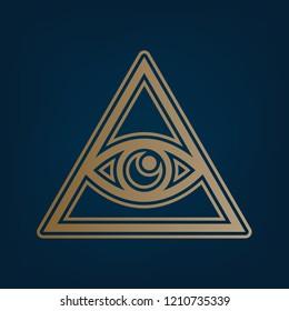 All seeing eye pyramid symbol. Freemason and spiritual. Vector. Golden icon and border at dark cyan background.