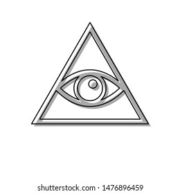 All seeing eye pyramid symbol. Freemason and spiritual. Black line icon with gray shifted flat filled icon on white background. Illustration.