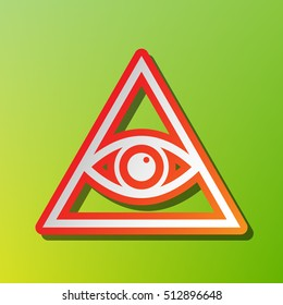 All seeing eye pyramid symbol. Freemason and spiritual. Contrast icon with reddish stroke on green backgound.
