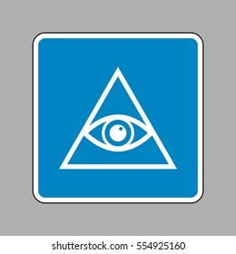 All seeing eye pyramid symbol. Freemason and spiritual. White icon on blue sign as background.