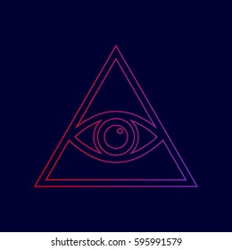 All seeing eye pyramid symbol. Freemason and spiritual. Vector. Line icon with gradient from red to violet colors on dark blue background.