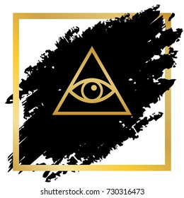 All seeing eye pyramid symbol. Freemason and spiritual. Vector. Golden icon at black spot inside golden frame on white background.