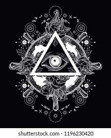 All seeing eye pyramid tattoo art. Freemason and spiritual symbols. Alchemy, medieval religion, occultism. Magic eye t-shirt design. Roses and the ship's helm