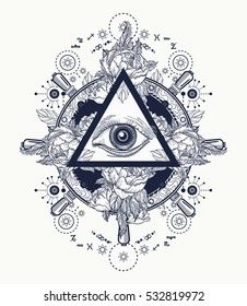 All seeing eye pyramid  tattoo art. Freemason and spiritual symbols. Alchemy, medieval religion, occultism, spirituality and esoteric. Magic eye t-shirt design. Roses and the ship's helm