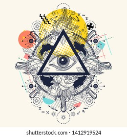 All seeing eye pyramid. Zine culture style. Hand drawn vector art, fashion contemporary collage. Freemason and spiritual symbols. Alchemy, medieval religion, occultism, spirituality and esoteric