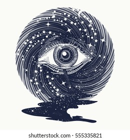 All seeing eye in space among stars tattoo art vector. Freemason and spiritual symbols. Spirituality and esoteric art. Magic eye in universe. Star river