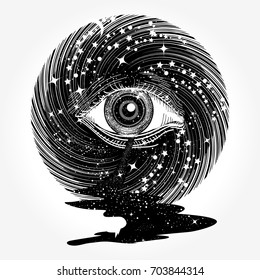 All seeing eye in space among stars tattoo vector. Star river. Freemason and spiritual symbols. Alchemy, occultism, spirituality and esoteric art