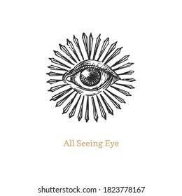 Alle sehen Auge mit Sonnenbrand. Auge der Vorsehung Vektorgrafik.  Heiliges Geometriesymbol im Gravierstil. Vintage Pastiche der Omniscience okkult Emblem und masonic Zeichen.