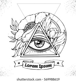 All seeing eye symbol inside triangle pyramid. Eye of Providence. Masonic symbol. Vintage background. Esoteric spiritual mascot. t-shirt design