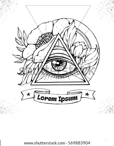 All Seeing Eye Symbol Inside Triangle Stock Vector Royalty Free