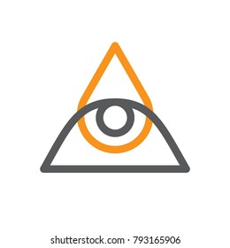 All seeing eye symbol, modern logo concept. Flat, linear design