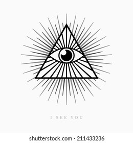 All seeing eye symbol on light background