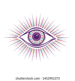 All seeing eye symbol. Vision of Providence. Alchemy, religion, spirituality, occultism, tattoo art. Isolated vector illustration. Conspiracy theory. Decorative drawing style print logo