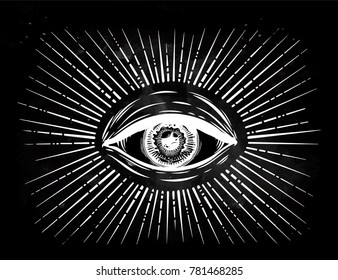 All seeing eye symbol. Vision of Providence. Alchemy, religion, spirituality, occultism, tattoo art. Isolated vector illustration. Conspiracy theory. Decorative drawing in flash tattoo style.