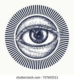 All seeing eye tattoo art vector. Magic eye t-shirt design. Freemason and spiritual symbols. Alchemy, medieval religion, occultism, spirituality and esoteric art