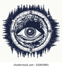 All seeing eye tattoo, tourism in a mystical style vector. Alchemy, spirituality, religion, occultism, esoteric art. Eye of the storm t-shirt design