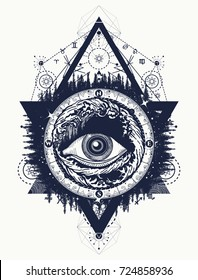 All seeing eye tattoo, tourism in a mystical style vector. Eye of the storm art t-shirt design. Alchemy, spirituality, religion, occultism, esoteric tattoo