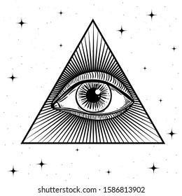 All Seeing eye in triangle. Sacred Masonic symbol. The Eye of Providence. Occultism black sadness look. Alchemy, religion, spirituality, occultism, tattoo art. Vector stock illustration. Mystical draw