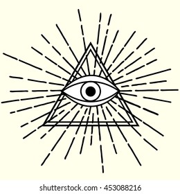 All seeing eye in triangle symbol  with rays
