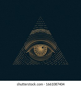 All seeing eye vector, illuminati symbol in triangle with light ray, tattoo design isolated on white background