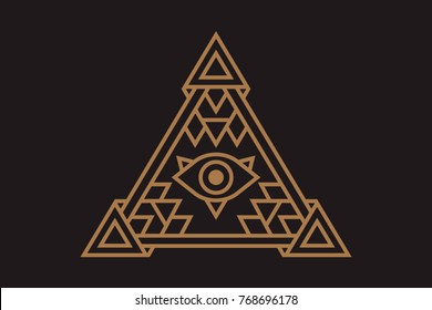 All Seeing Icon Illustration The Symbol Of Illuminati Eye In Pyramid