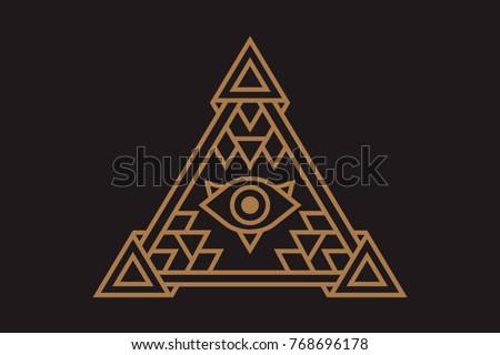 All Seeing Icon Illustration Symbol Illuminati Stock Vector Royalty