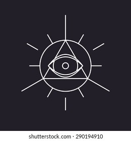 All seeing symbol, modern line design, vector