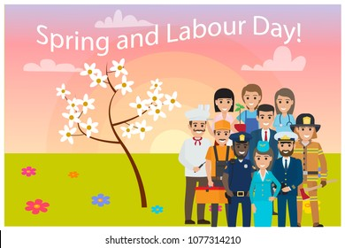 All service professions on spring labour day card vector illustration. Ten workers on green lawn with color flowers and blossom tree background.