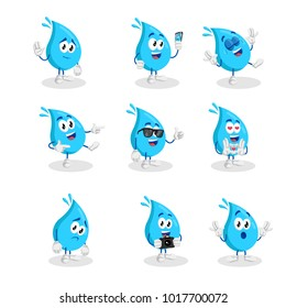 All set Water mascot and background with flat design style for your mascot branding.