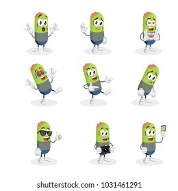All set Zombie mascot and background with flat design style for your mascot branding.