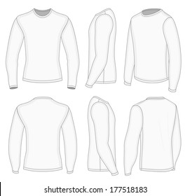 All six views men's white long sleeve t-shirt design templates (front, back, half-turned and side views). Vector illustration.