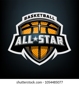 All star basketball, sports logo emblem on a dark background.