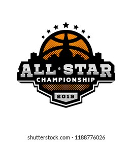 All star basketball, sports logo, emblem.