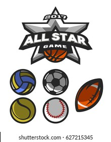 All star game, logo, emblem for  basketball, volleyball, football, tennis, basketball.