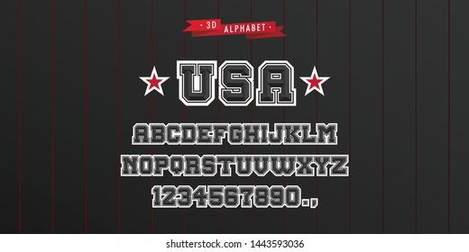 All Star Jersey Vintage 3D Alphabet. Sporty Typeface. Vector Font Illustration