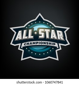 All star sports, template logo design on a dark background.