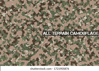 All Terrain Camouflage, Highly sophisticated camouflage to destroy visibility. Tactics to hide enemy. For hiding and destroying missions.